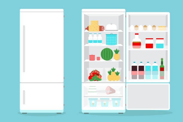 Refrigerator opened with food.Fridge Open and Closed with foods Refrigerator opened with food.Fridge Open and Closed with foods refrigerator stock illustrations