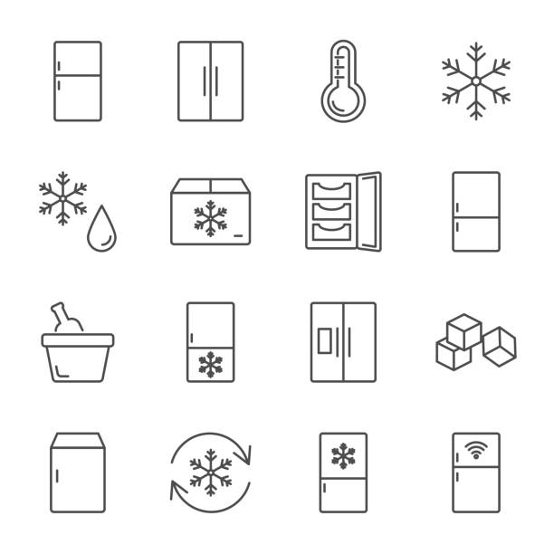 Refrigerator set of vector icons line style Refrigerator set of vector icons line style ice stock illustrations