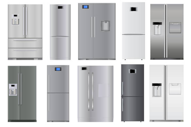 冰箱套裝向量藝術插圖