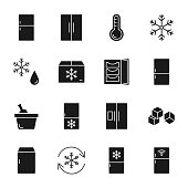 Refrigerator silhouettes icons set