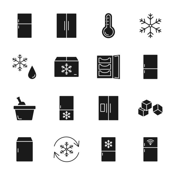 Refrigerator silhouettes icons set Refrigerator silhouettes icons set refrigerator stock illustrations