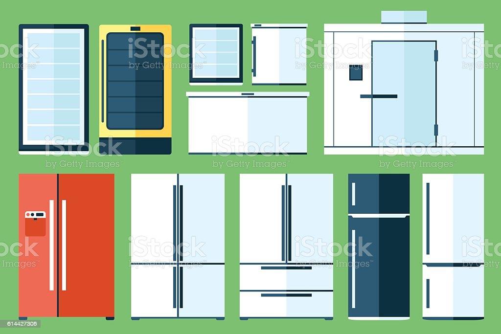 Refrigerator types vector art illustration