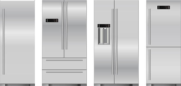 Refrigerator Set of refrigerators: side by side, one door, two doors.  Vector Illustration isolated on white background vehicle door stock illustrations