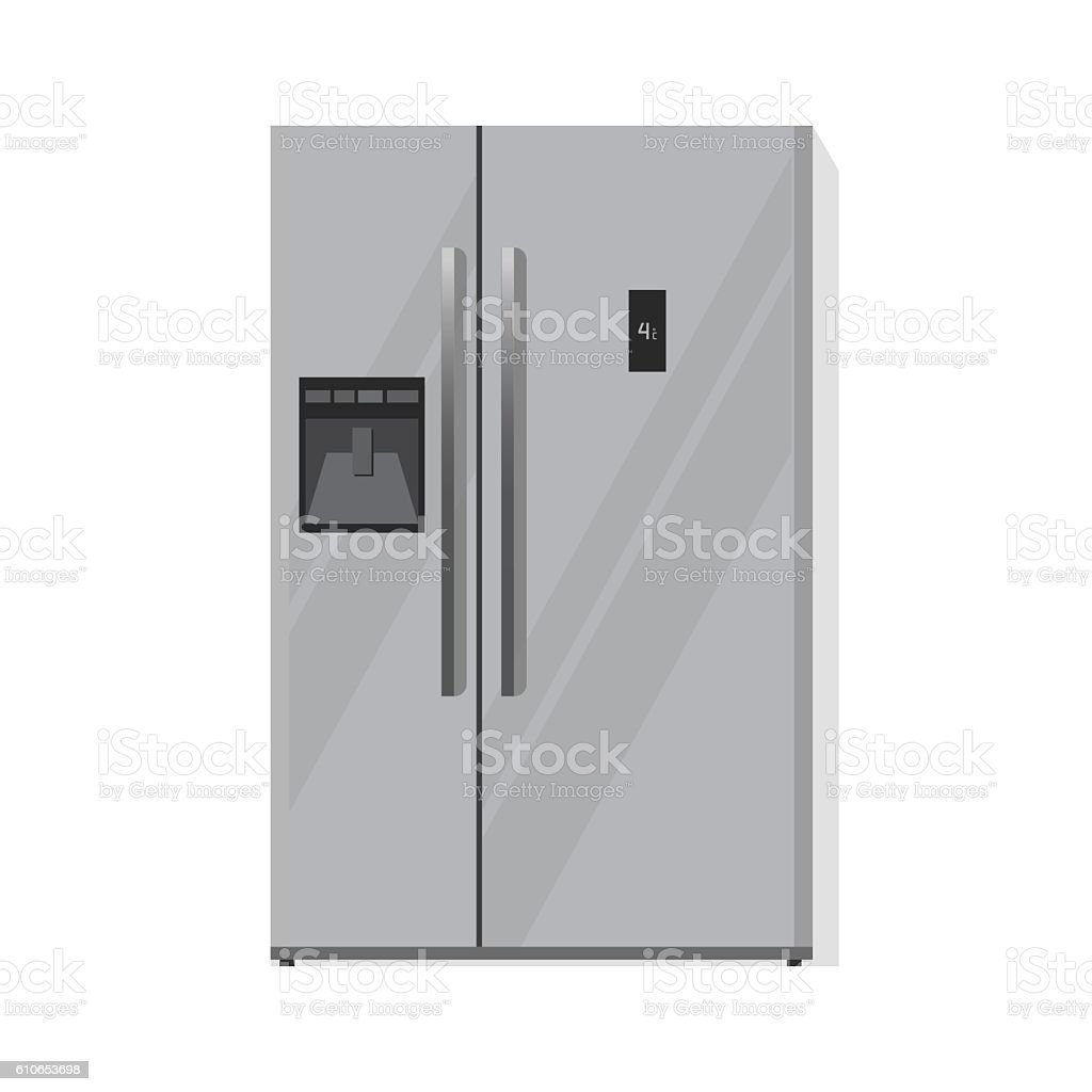 Refrigerator Vector Illustration Isolated Silver Two Doors Fridge ...