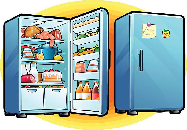 refrigerator with full of food. closed and opened. - kühlschränke stock-grafiken, -clipart, -cartoons und -symbole