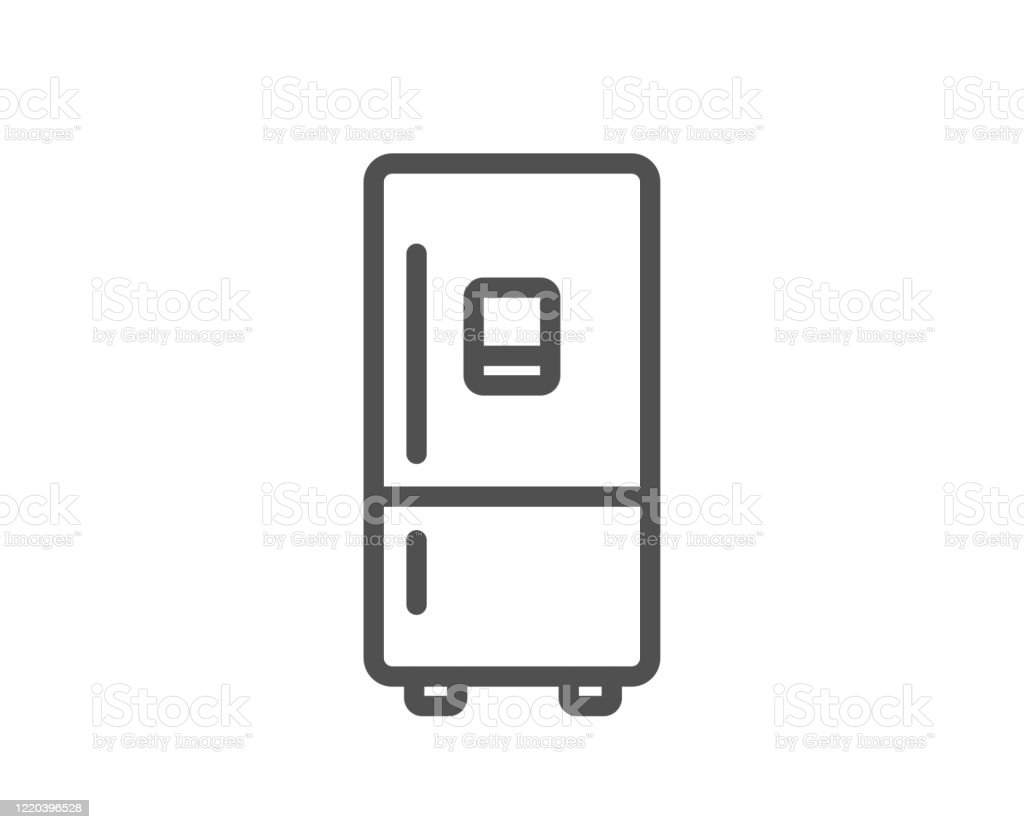 Refrigerator With Ice Maker Line Icon Fridge Sign Vector Stock Illustration Download Image Now Istock