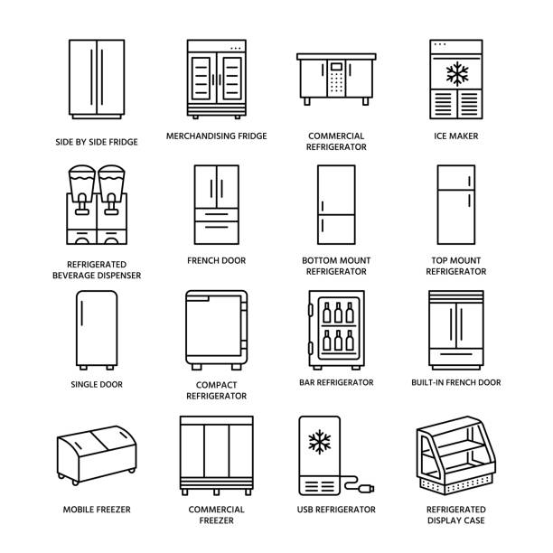 Royalty Free Side By Side Refrigerator Clip Art, Vector