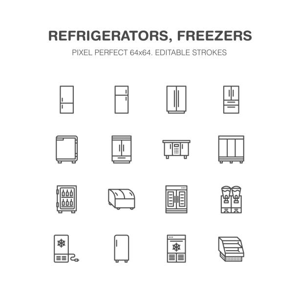 Refrigerators flat line icons. Fridge types, freezer, wine cooler, commercial major appliance, refrigerated display case. Thin linear signs for household equipment shop. Pixel perfect 64x64 Refrigerators flat line icons. Fridge types, freezer, wine cooler, commercial major appliance, refrigerated display case. Thin linear signs for household equipment shop. Pixel perfect 64x64. refrigerator stock illustrations