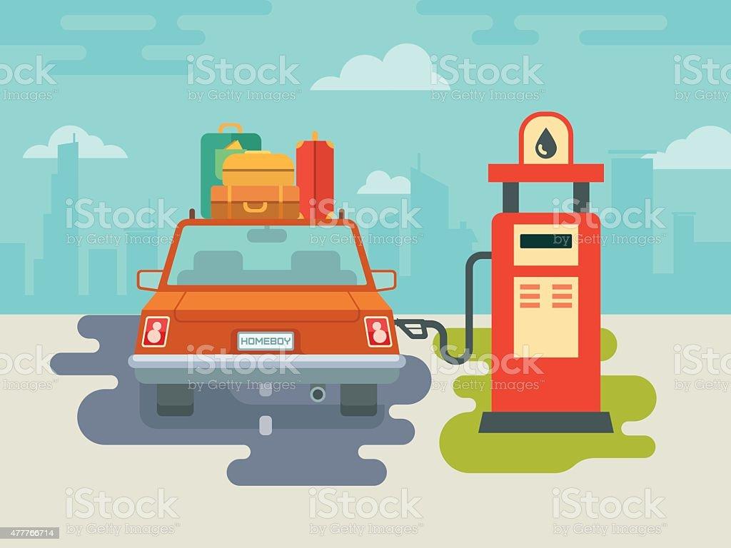 Refuel Car at Gas Station vector art illustration