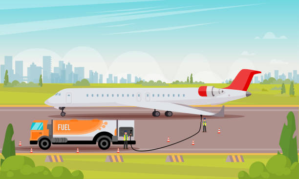 Refueling Passenger Aircraft Flat Illustration. Refueling Passenger Aircraft Flat Illustration. Vector Colored Background. Attentive Airport Workers Run New White Plane at Airfield Away from Big City With Fuel Truck in Warm Season. airport backgrounds stock illustrations