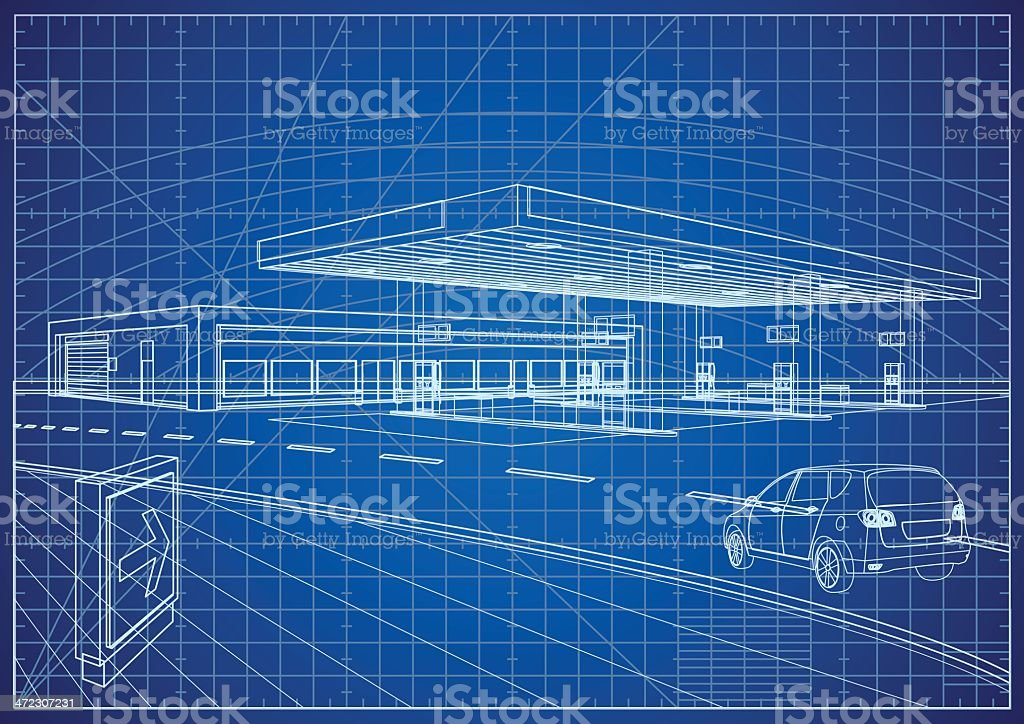 Refueling Station Blueprint royalty-free refueling station blueprint stock vector art & more images of art