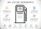 Gasoline Station Infographics in Flat Style.