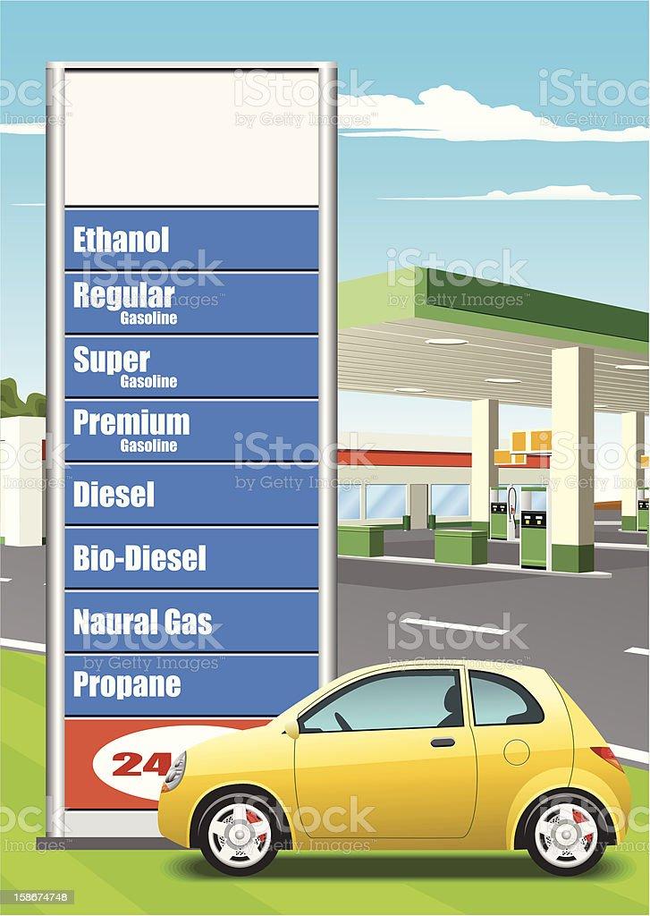 Refueling Station Price Board vector art illustration