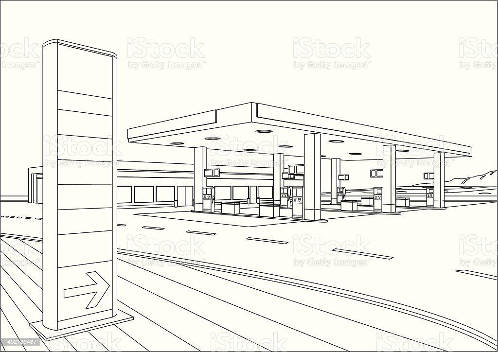 Refueling Station Sketch vector art illustration