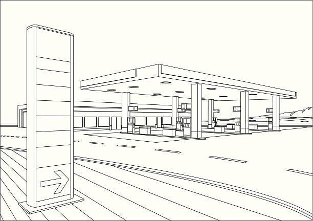 Refueling Station Sketch Gasoline Station Sketch. station stock illustrations