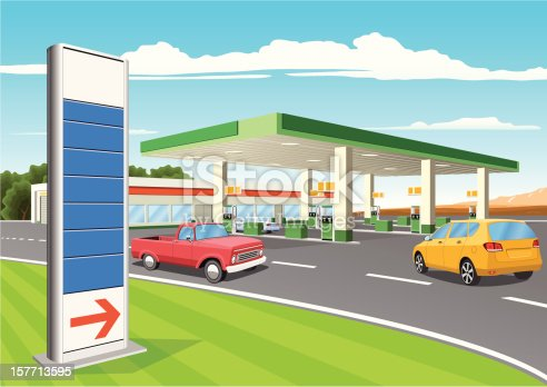 istock Refueling Station with Gas Prices Sign 157713595