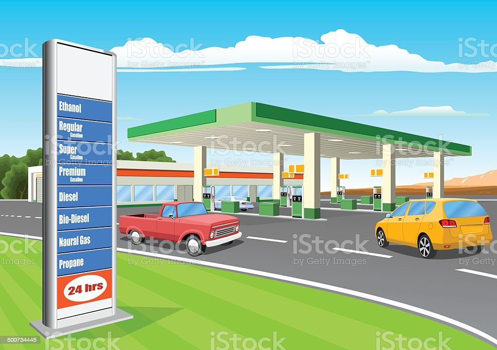 Refueling Station with Gas Prices Sign royalty-free refueling station with gas prices sign stock illustration - download image now