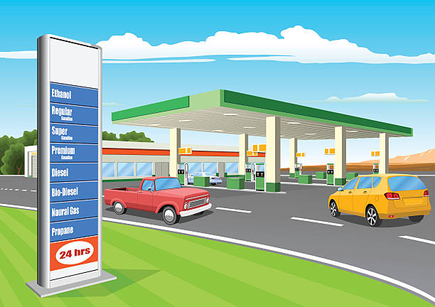 Refueling Station with Gas Prices Sign vector art illustration