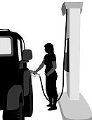 Silhouette illustration of a woman gasing up the car