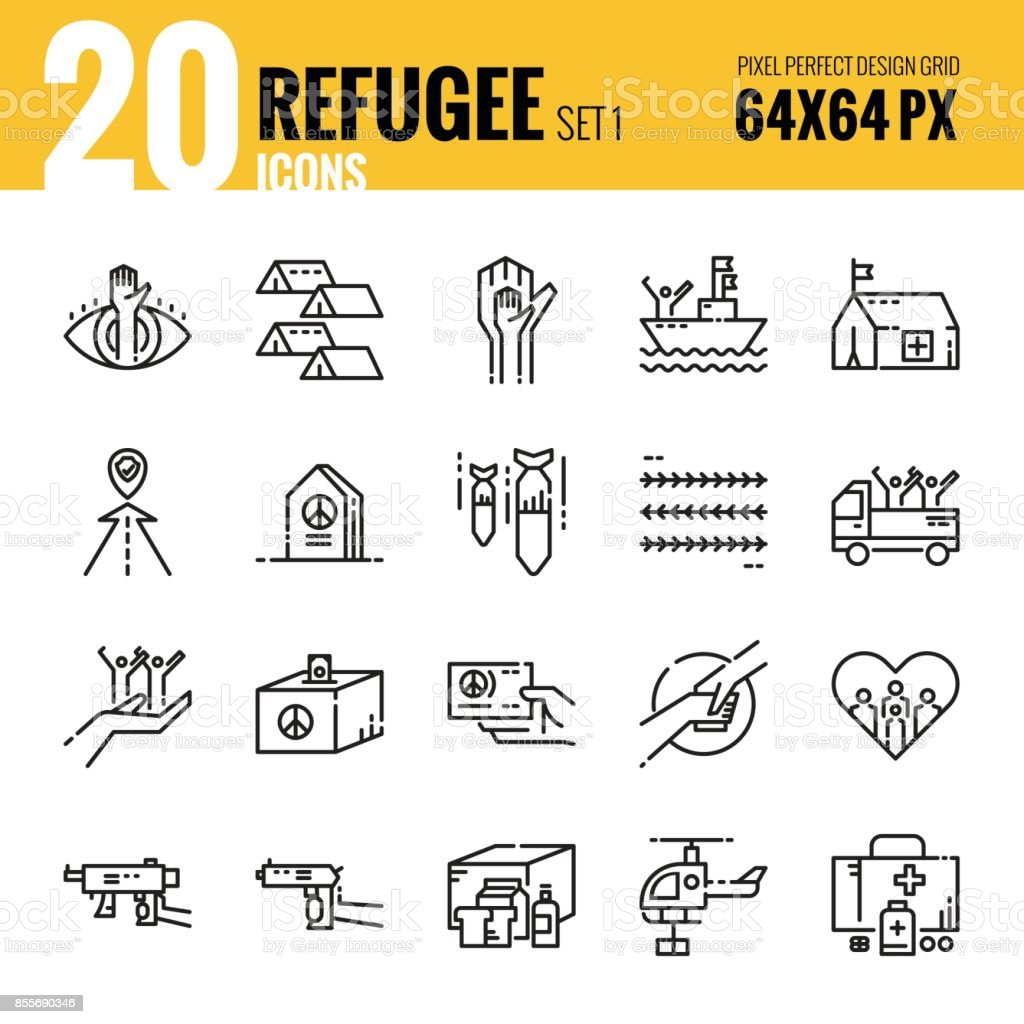 Refugee and immigration icon set 1. vector art illustration