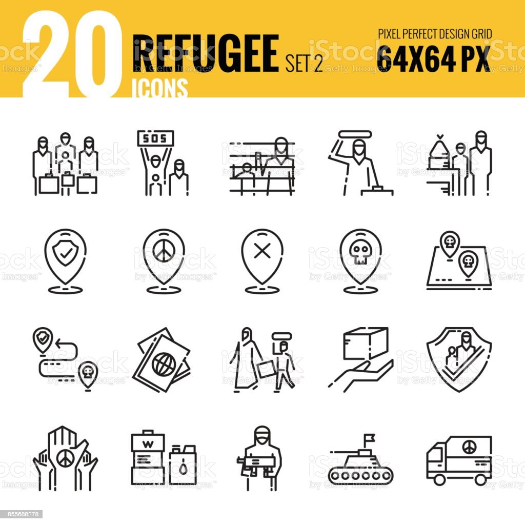 Refugee and immigration icon set 2. vector art illustration