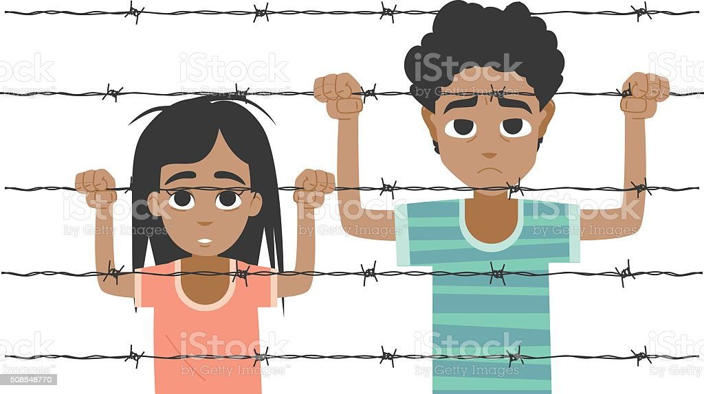 Refugee boy and girl behind barbed wire vector art illustration