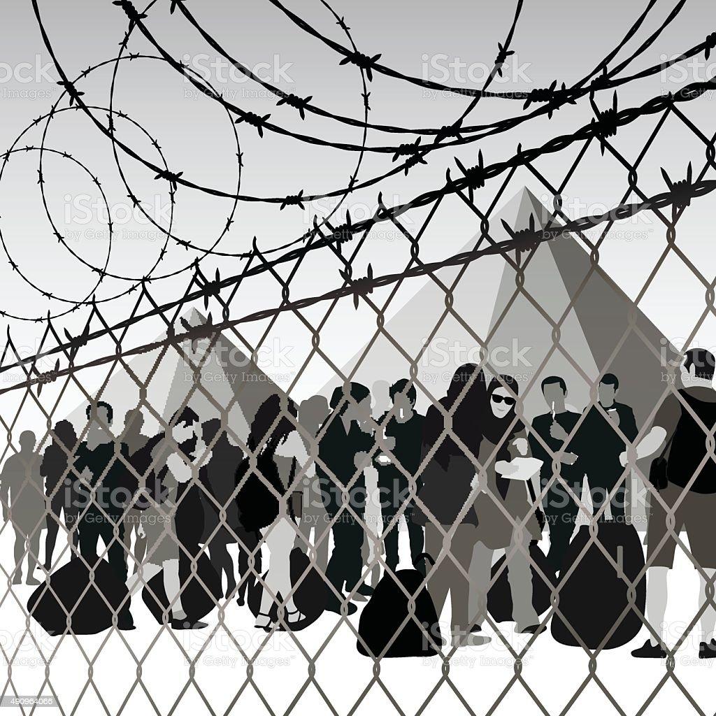 Refugee camp vector art illustration