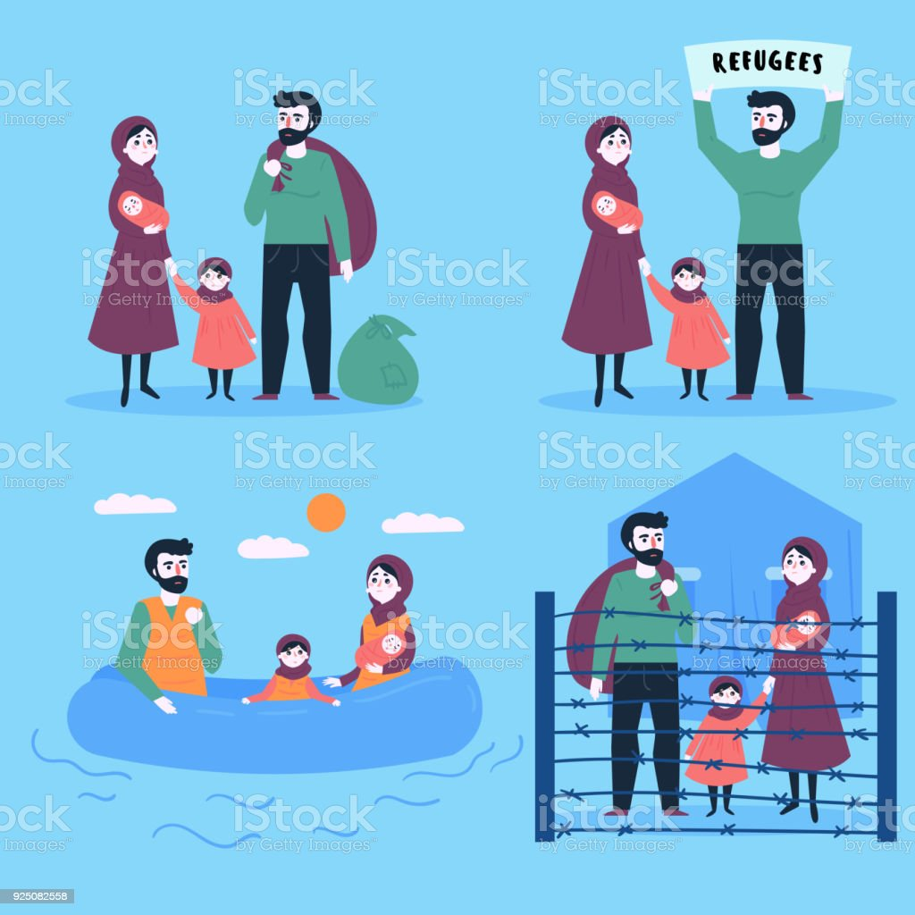Refugee family with child and small baby vector art illustration