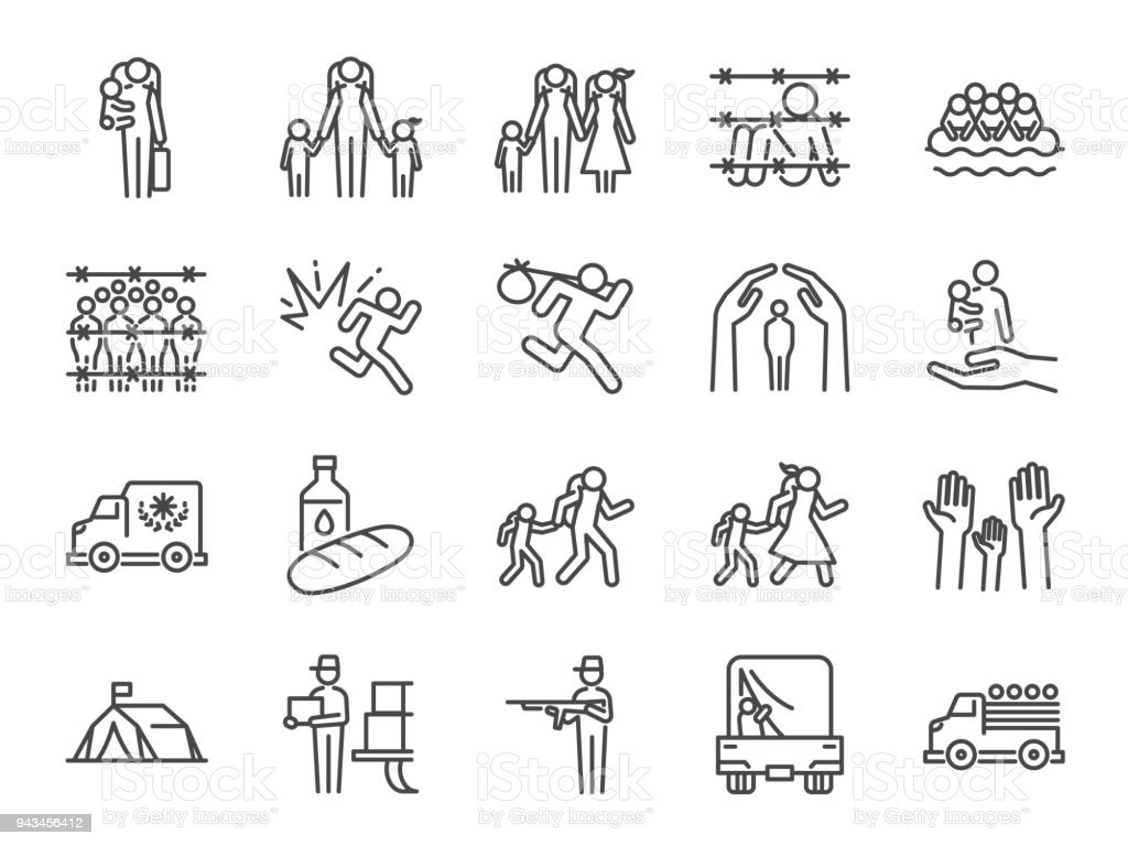 Refugee icon set. Included the icons as displaced person, asylum, shelter, evacuate, persecution,  escape, international problem and more