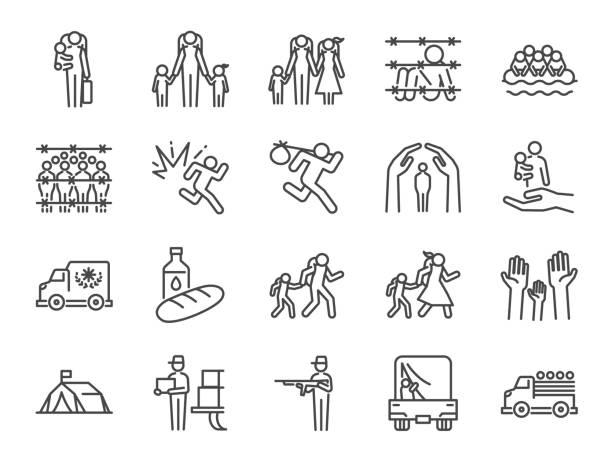 bildbanksillustrationer, clip art samt tecknat material och ikoner med flykting ikonuppsättning. ingår ikonerna som fördriven person, asyl, skydd, evakuera, förföljelse, escape, internationellt problem och mer - krig