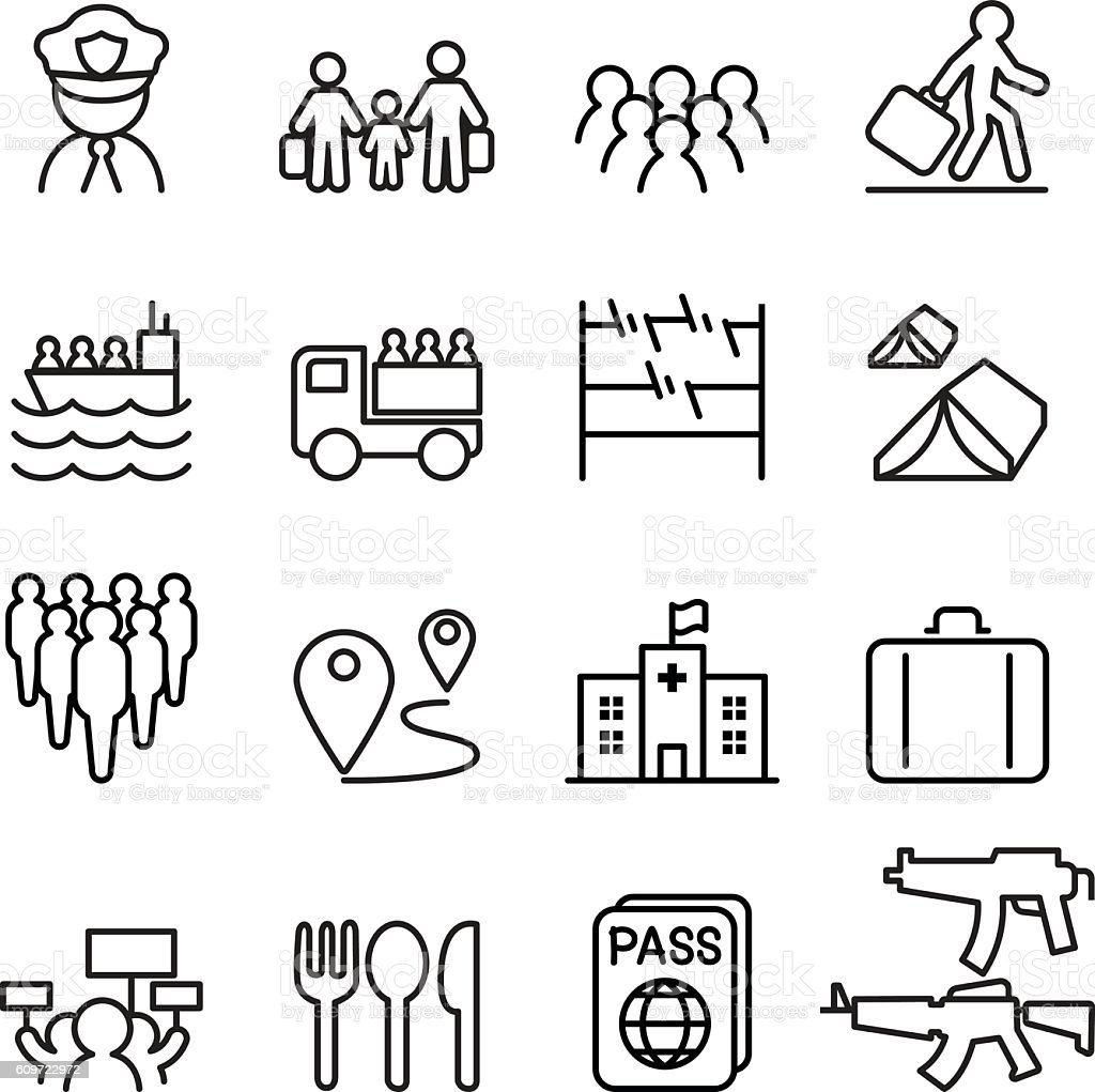 Refugee & immigrant icons set in thin line style vector art illustration