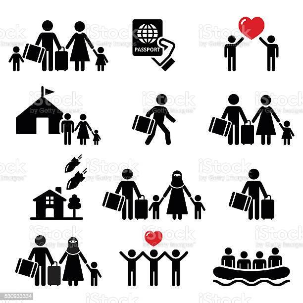 Refugee immigrants families running away from their countries icons vector id530933334?b=1&k=6&m=530933334&s=612x612&h=iohrmofw8mvsgq16asmq5xz12fdjmisdnawcnusghu8=