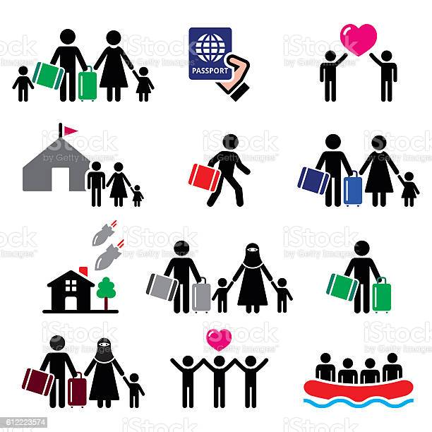 Refugee immigrants families running away from their countries icons vector id612223574?b=1&k=6&m=612223574&s=612x612&h=ctch6tx3iiowgbbhvtspqbn6wsthpmqqkuvind 4tpi=