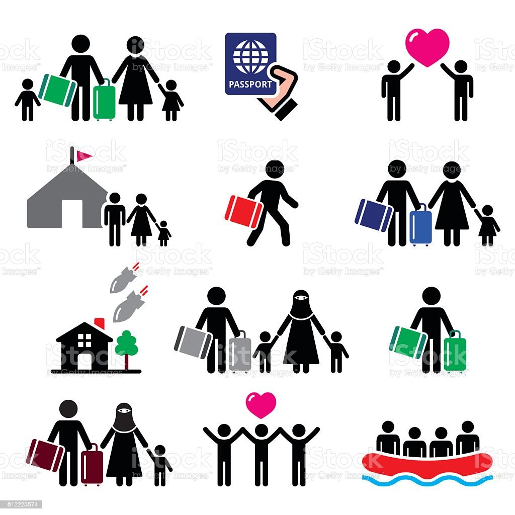 Refugee, immigrants, families running away from their countries icons set vector art illustration