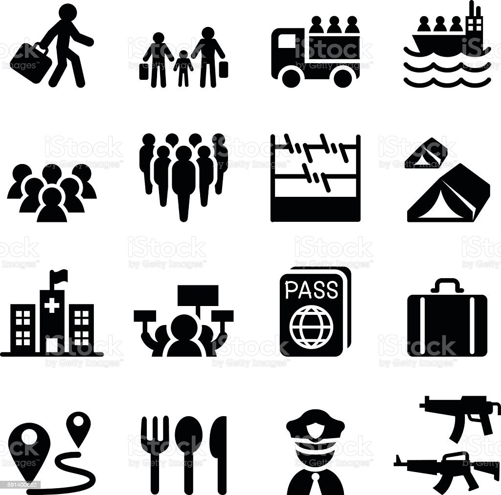 Refugee, immigrants, immigration icons set vector art illustration