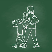 Refugee Mom And Kids Chalkboard