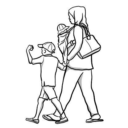 Refugee Mom And Kids