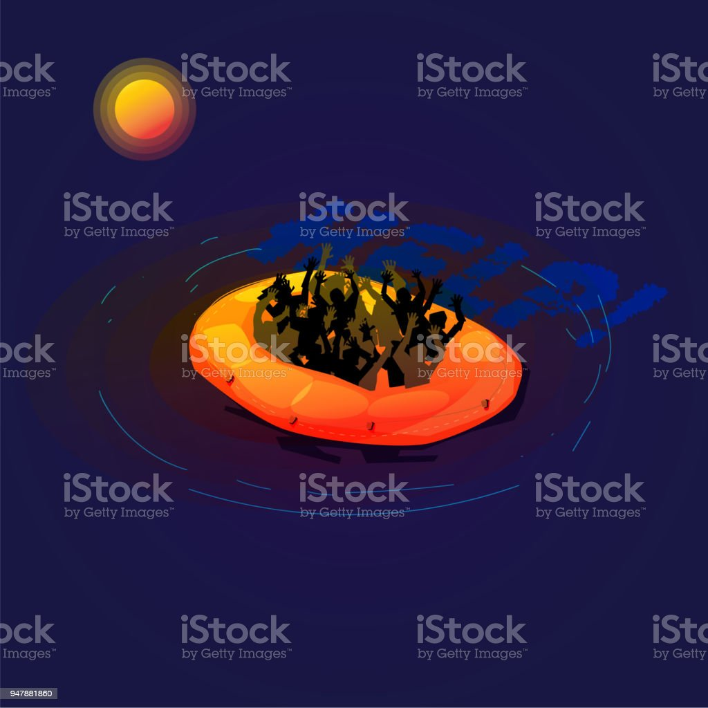Refugee On Small Boat Crisis Concept Vector Stock Art How To Wire A Barbed Greece Italy Syria