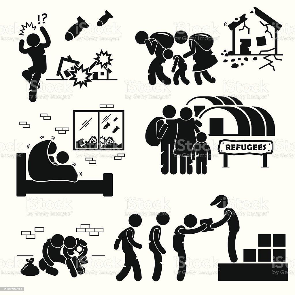 Refugees Evacuee War Pictogram Cliparts vector art illustration