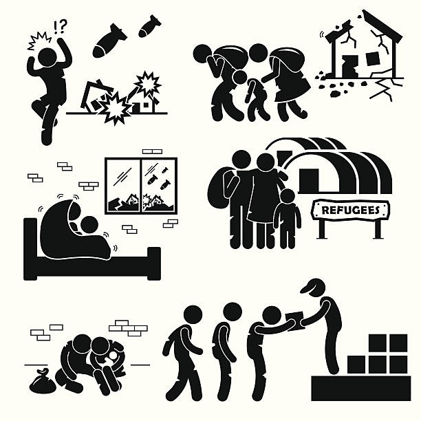 Refugees Evacuee War Pictogram Cliparts A set of human pictogram representing people fleeing and running away from war and staying in refugee camp. demolished stock illustrations