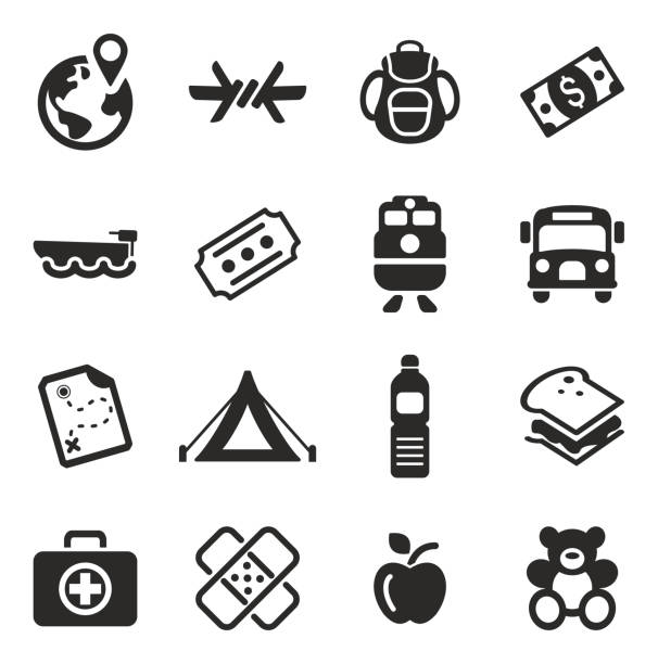 Refugees Icons This image is a  illustration and can be scaled to any size without loss of resolution. smuggling stock illustrations