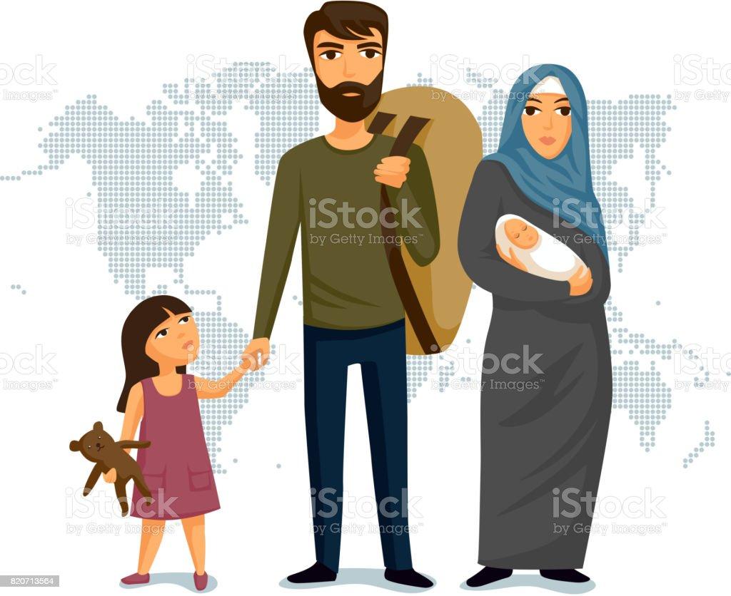 Refugees infographic. Social assistance for refugees. Arab Family. Design template. Refugees immigration concept vector art illustration