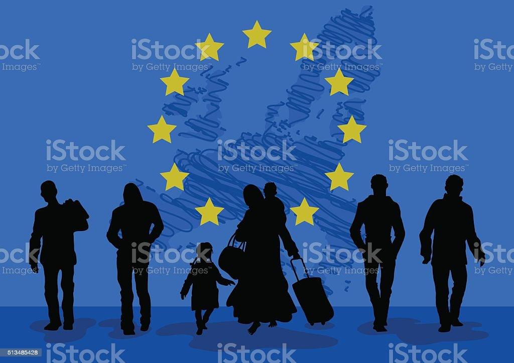 Refugees men and women with children. vector art illustration