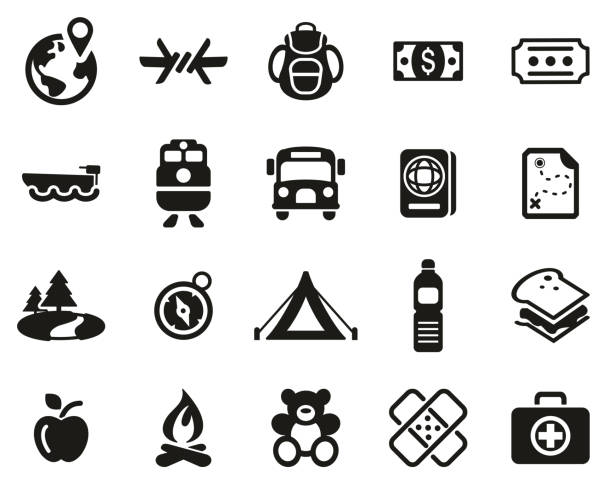 Refugees & Migrants Icons Black & White Set Big This image is a vector illustration and can be scaled to any size without loss of resolution. sailing dinghy stock illustrations