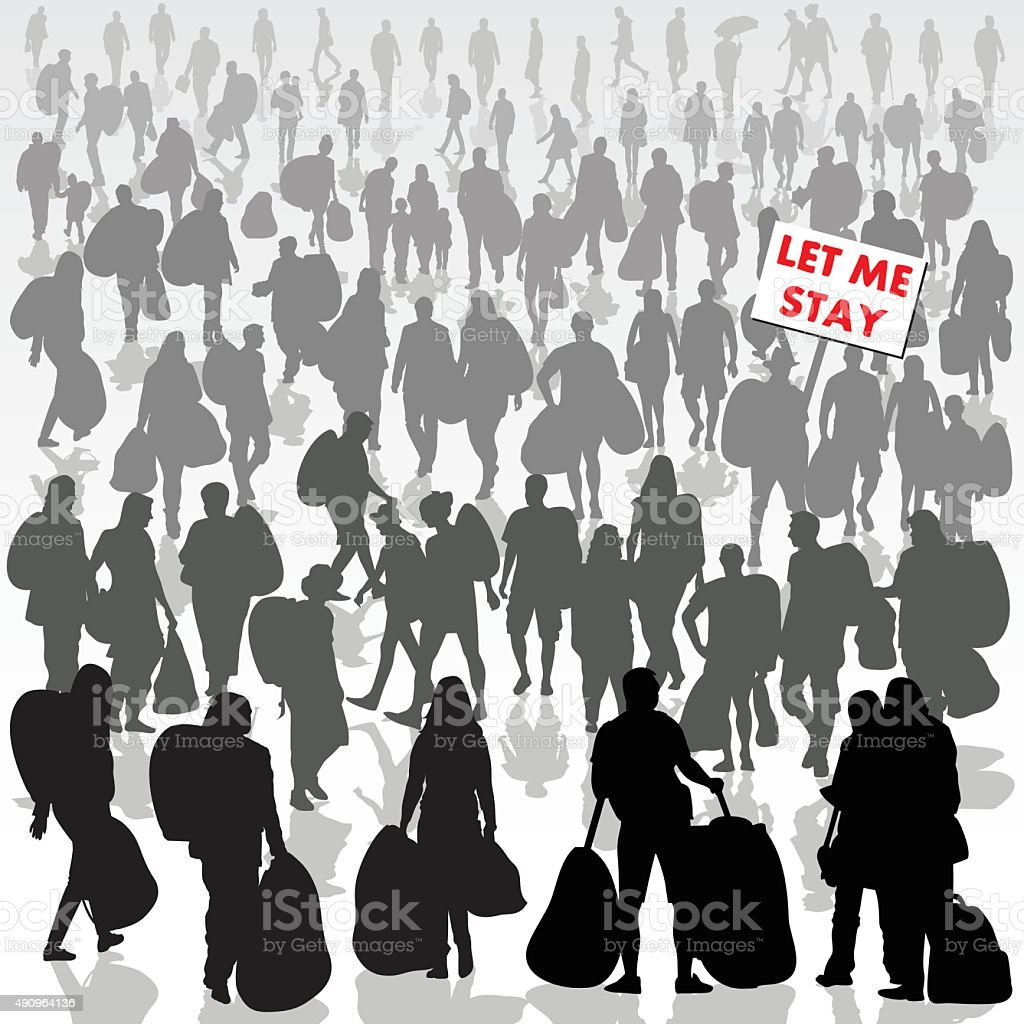 Refugees need help vector art illustration