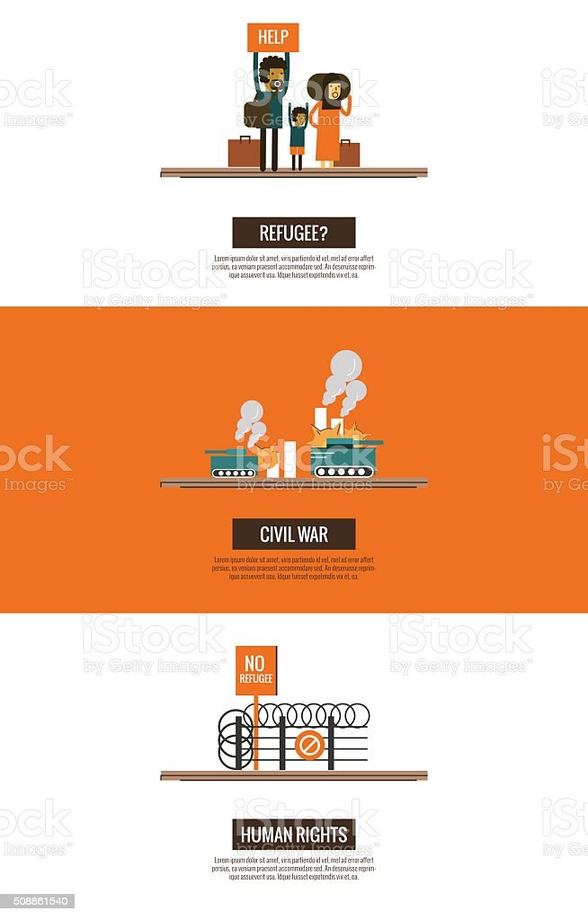 Refugees of the Syrian Civil War infographics. vector art illustration