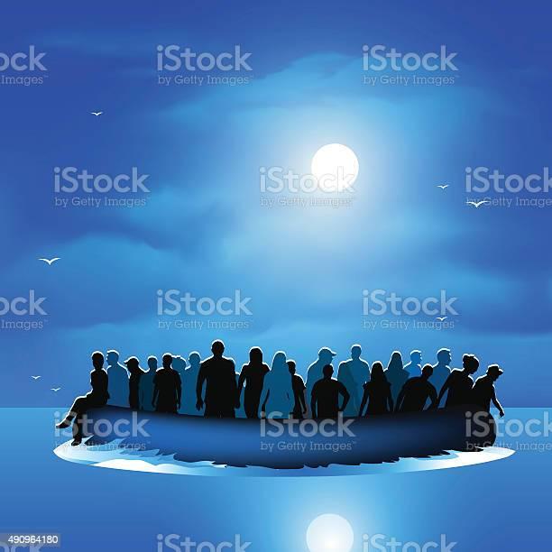 Refugees on pontoon boat vector id490964180?b=1&k=6&m=490964180&s=612x612&h=mipoauu8dagel45zgmv viozpjjxmnkyaxov6v61eoe=