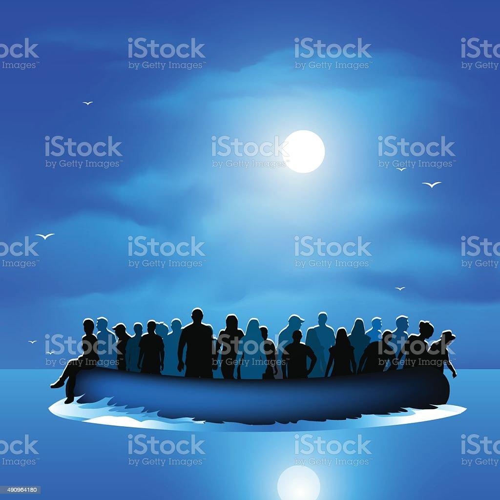 Refugees on pontoon boat vector art illustration