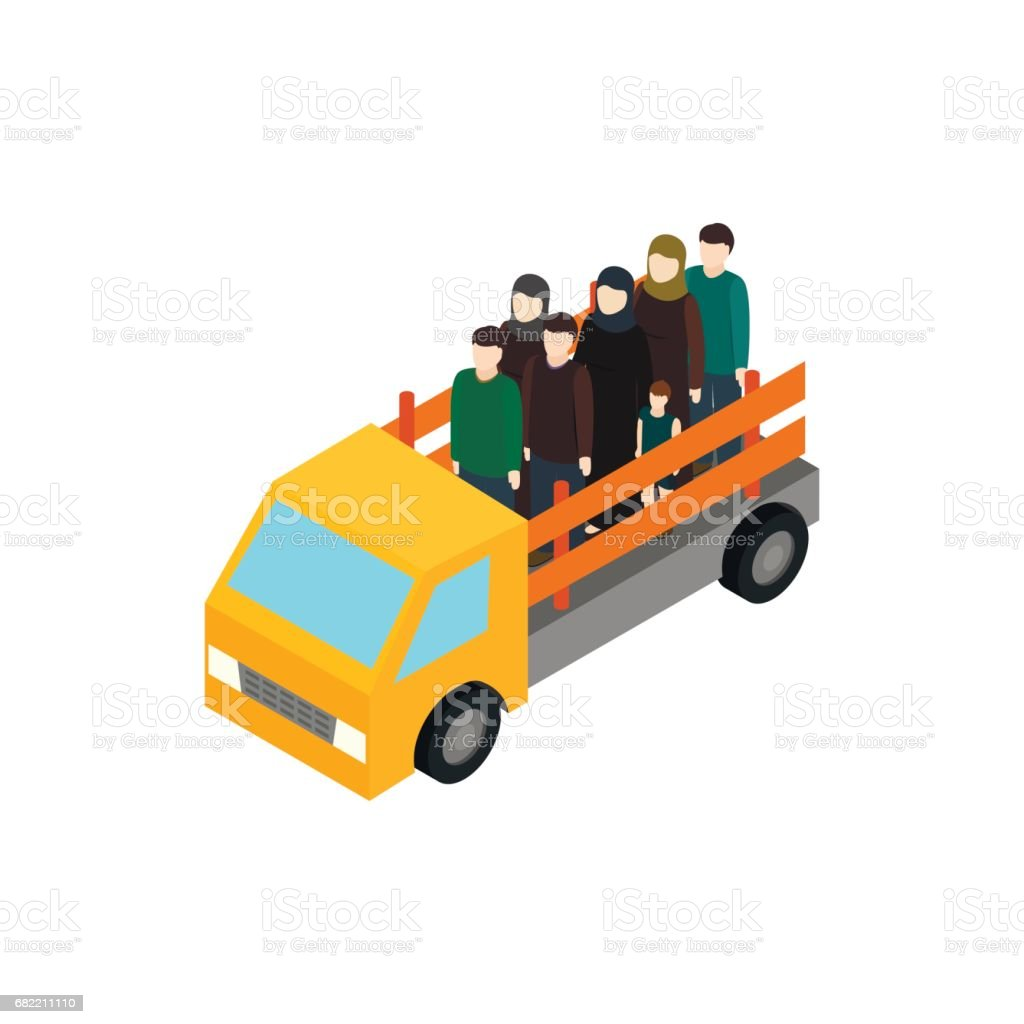 Refugees on truck icon, isometric 3d style vector art illustration