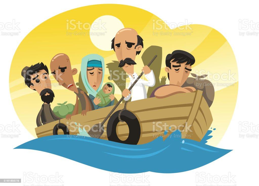 refugees sailing on a raft vector art illustration
